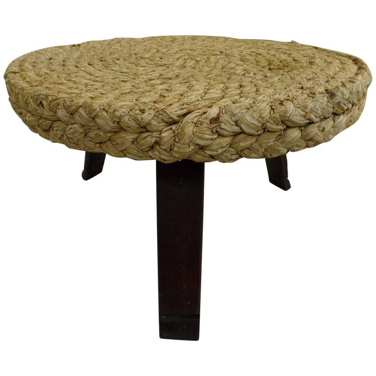 French Mid Century Modern Woven Rush Round Coffee Table By Audoux Minet 1940