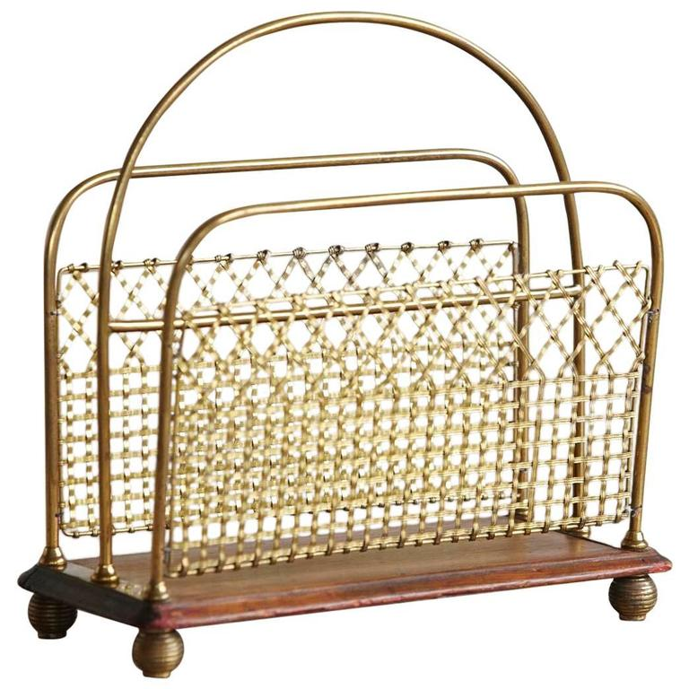 """19th Century Aesthetic Movement Woven Brass Canterbury or """"Magazine Stand"""" For Sale"""