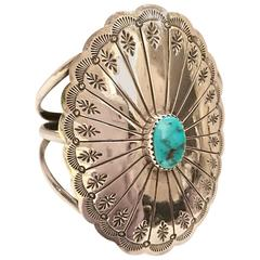 Vintage Navajo Sterling and Turquoise Cuff Bracelet