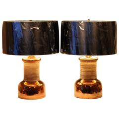 Pair of Vintage Italian Bitossi Pottery for Raymor Copper Luster Lamps