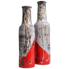 Pair of Tall Marcello Fantoni Ceramic Vases