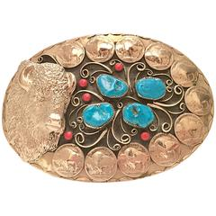 1970s Gigantic Navajo Turquoise and Coral Silver Belt Buckle by Squaw Wrap