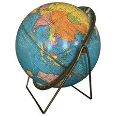 Vintage Scholastic World Globe with Rotating Stand, circa 20th Century