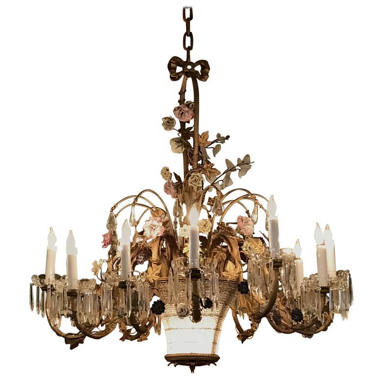 Louis XVI Style Twelve-Light Gilt Bronze Flower Encrusted Chandelier 1