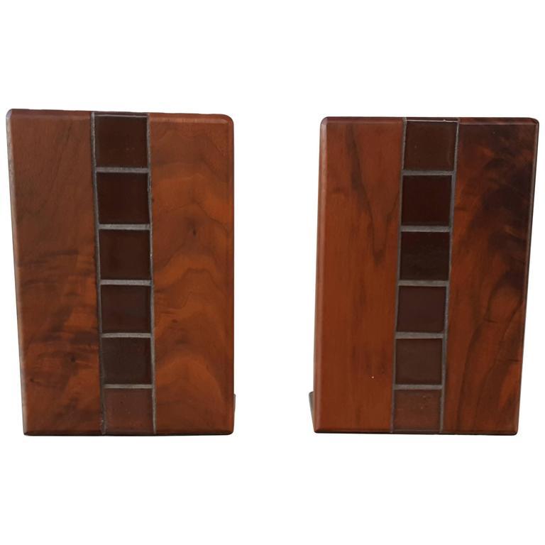 Gordon Martz Walnut and Tile Bookends For Sale