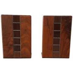 Gordon Martz Walnut and Tile Bookends