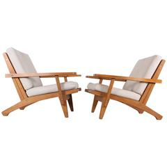 Hans J. Wegner for GETAMA Denmark Pair of Oak GE 375 Armchairs