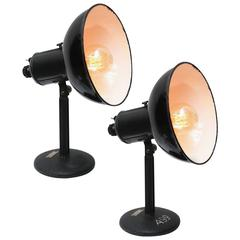 Pair of Black Indsutrial Enamel Desk Lights