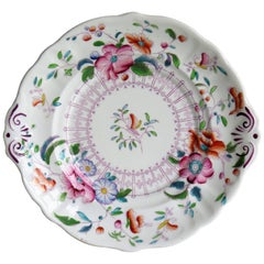 Staffordshire Serving Dish or Plate Hand-Painted Porcelain, English circa 1825
