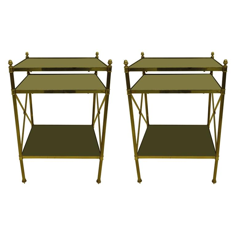 Pair of French Brass and Black Onyx X-Frame Side Tables by Maison Jansen For Sale
