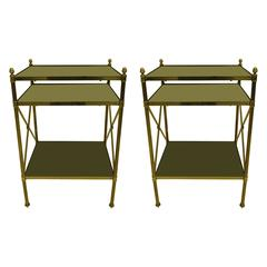 Pair of French Brass and Black Onyx X-Frame Side Tables by Maison Jansen