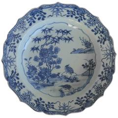 Chinese Porcelain Plate or Bowl, Blue and White, Woodland Birds, circa 1770