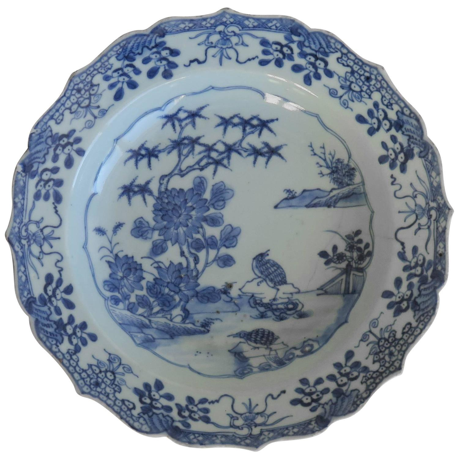 Chinese Porcelain Plate or Bowl Blue and White Woodland Birds