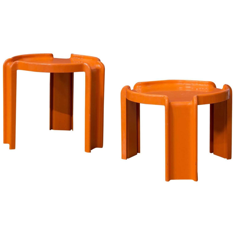 1968 Giotto Stoppino for Kartell Two Orange Plastic Nesting