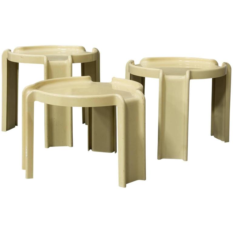 1968, Giotto Stoppino For Kartell, Nest Of Three Off White Plastic Tables  For