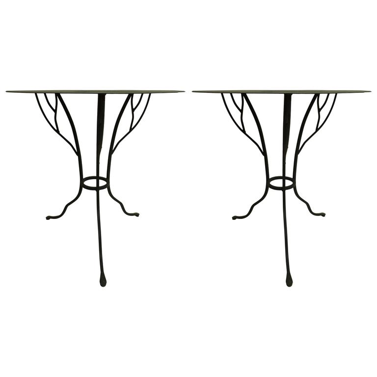 Pair of French Mid-Century Wrought Iron Side Tables in the Style of Giacometti For Sale