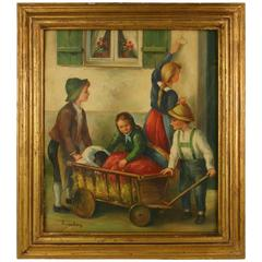 Going to the Vet Oil Painting