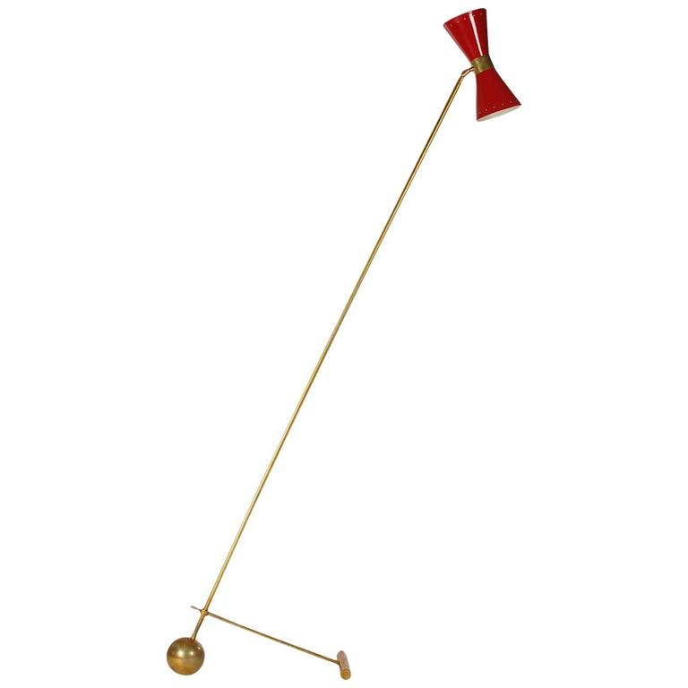 Mid-Century Modern Italian Brass and Red Floor Lamp by Stilnovo or Arredoluce For Sale