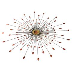 Large Copper, Brass and Steel Sunburst Wall Art Sculpture, 1970s, USA