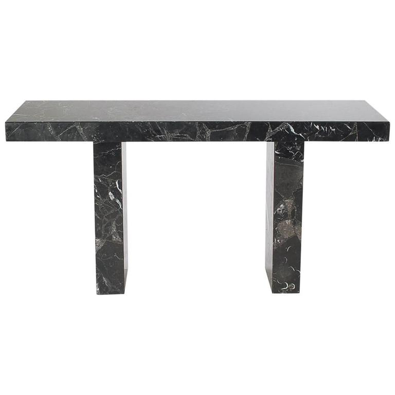 Mid-Century Modern Black Marble Console, Desk or Sofa Table after Karl Springer For Sale