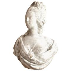 18th Century White Marble Bust of Queen Marie-Antoinette