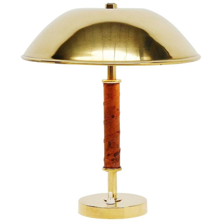 ASEA Belysning Brass and Leather Table Lamp, Sweden, 1960 For Sale ...