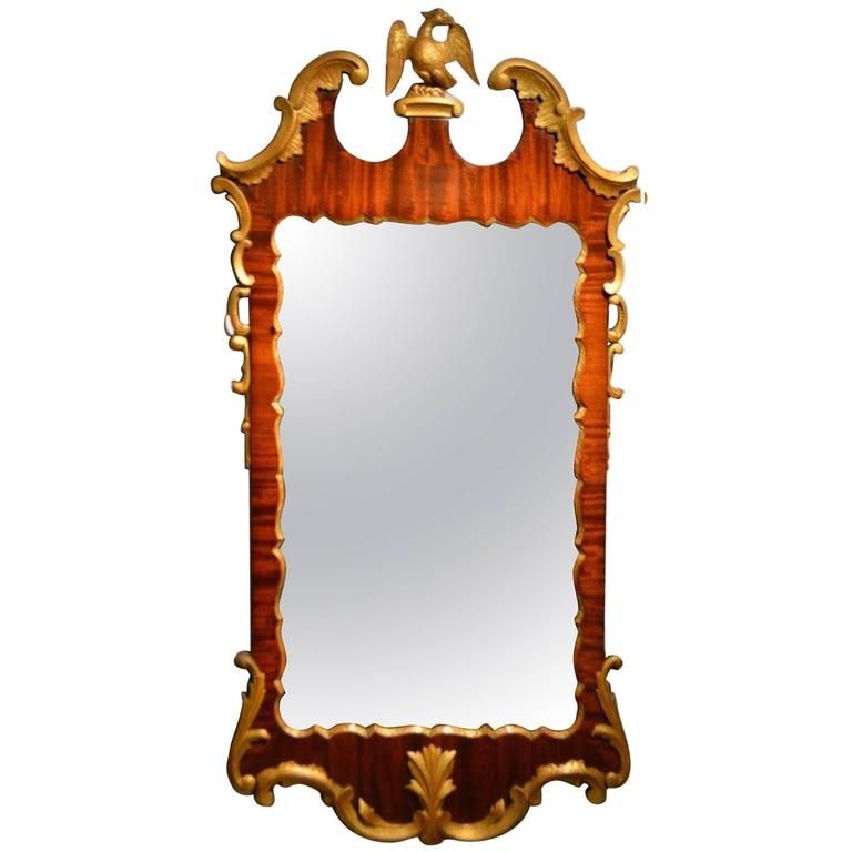 Mahogany and Carved Giltwood George II Style Wall Mirror 1