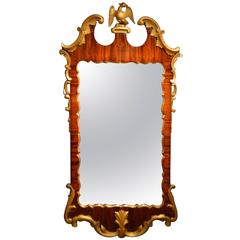 Mahogany and Carved Giltwood George II Style Wall Mirror