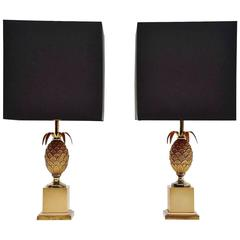 Pair of Maison Le Dauphin Pineapple Table Lamps, France, 1970