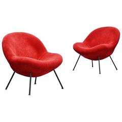 Fritz Neth Egg Chairs Pair by Sitzformbau, Kassel Germany, 1955