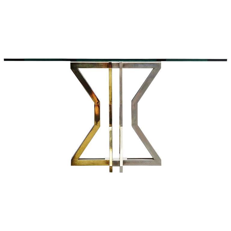 Romeo Rega Dining Table Chrome and Brass, Italy, 1970
