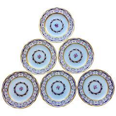 Six Sevres Porcelain Dinner Plates