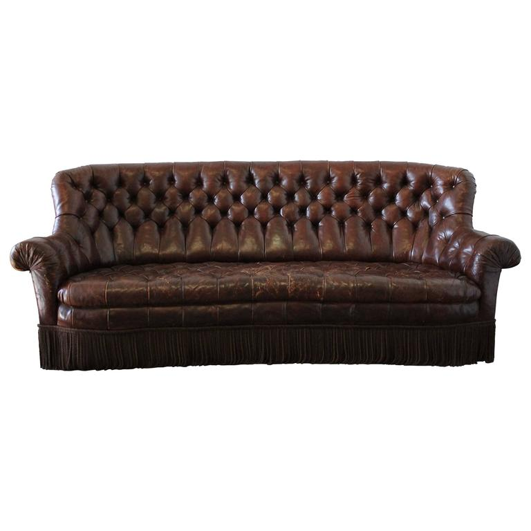 Vintage Rich Brown Leather Chesterfield Sofa With Bullion Trim At 1stdibs