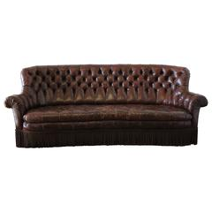 Vintage Rich Brown Leather Chesterfield Sofa with Bullion Trim