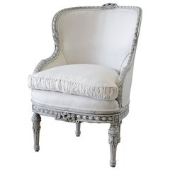 20th Century Painted and Carved Louis XVI Style Wing Chair