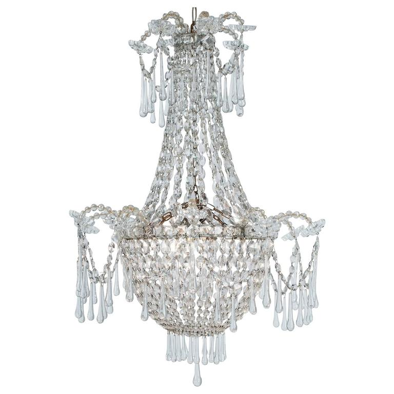 French, Late 19th Century, Crystal Chandelier with Three Inner Lights 1