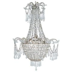 French, Late 19th Century, Crystal Chandelier with Three Inner Lights