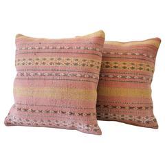 Pair of Vintage Turkish Oushak Rug Pillows