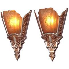 Pair of Slip Shade Wall Sconces, 1930
