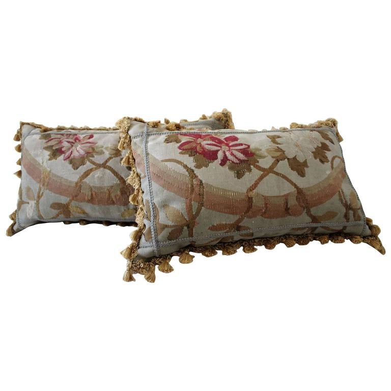 19th Century Aubusson Lumbar Pillows For Sale