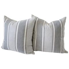 Pair of Antique French Ticking Pillows with Down Feather Inserts