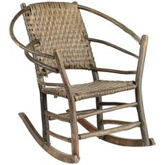 American Adirondack Hickory Rocker with Woven Back and Seat