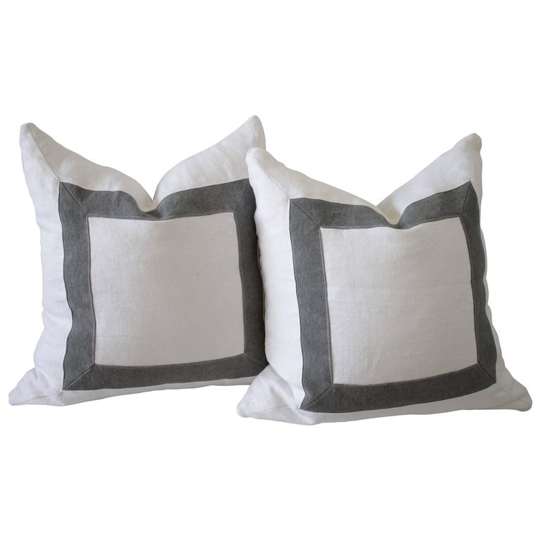 Custom-Made Stone Washed Linen Pillows with Down Inserts