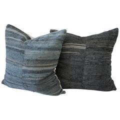 One of a Kind Vintage European Indigo Pillows Pair