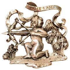 Ciner Sterling Silver Cupid Sagittarius Horoscope Brooch