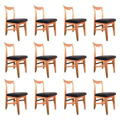Guillerme et Chambron Set of 12 Oak Dining Chairs, circa 1965
