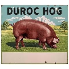 "Mid-Century Oversized Advertising Sign ""Duroc Hog"""