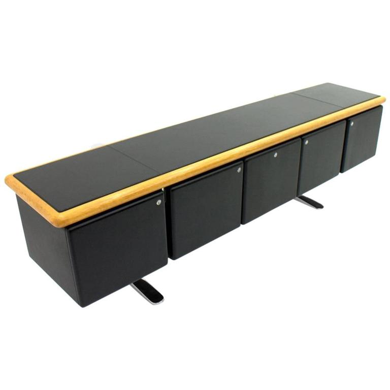 Warren Platner Black Leather Floating Sideboard With