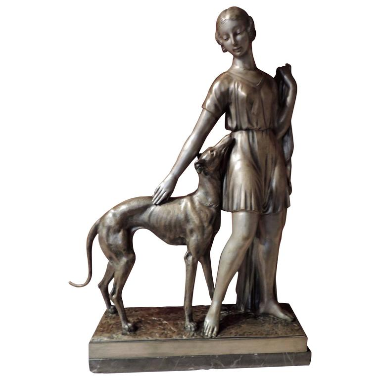 Grand Art Deco Bronze Sculpture of a Woman and Greyhound by I  Gallo