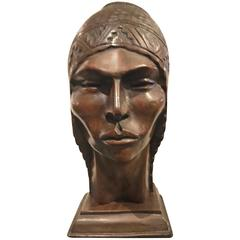 Xotic Indian Art Deco Sculpted Head in Wood by Silva